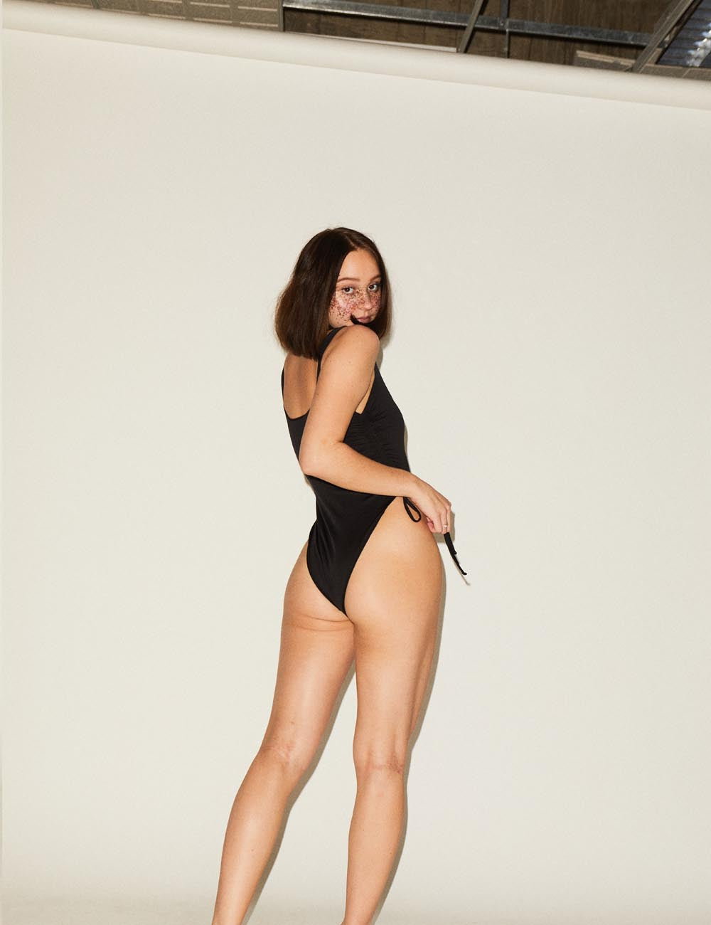 ECO Sophia Black Ruched Side Swimsuit