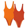 REVERSIBLE Rib High Leg Swimsuit Rust/Orange