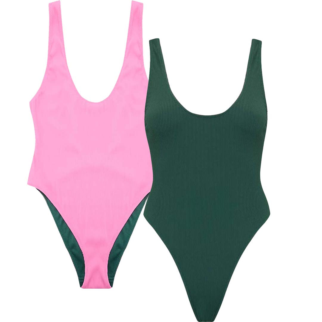 REVERSIBLE Rib High Leg Swimsuit
