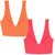 REVERSIBLE High Apex Plunge Bikini Top Orange/pink