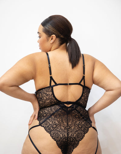 Lucia Harness Heroic Lace Brazilian back bodysuit