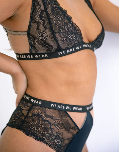 Recycled Lace High Waist Cut Out Brief With Logo Detail Band