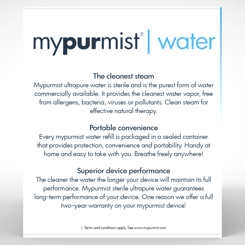 mypurmist Ultrapure Sterile Water - 20 refills, 30ml - Buy 3 and Get