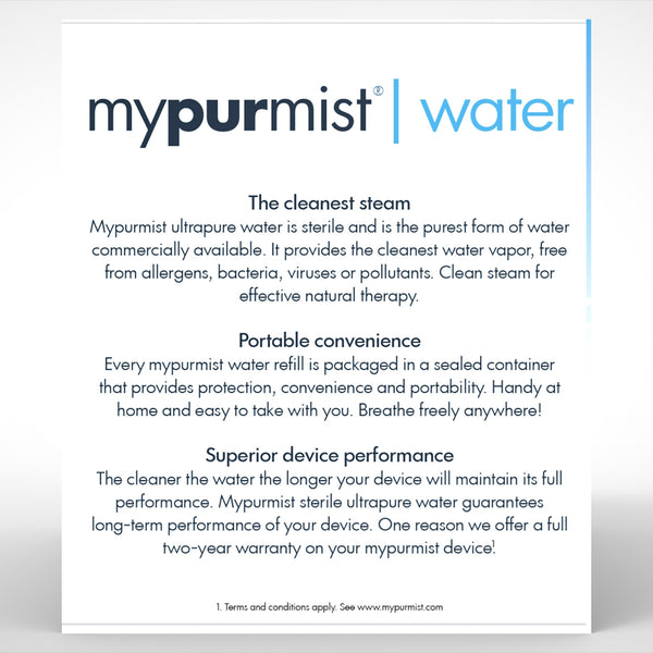 mypurmist ultrapure sterile water refill box back
