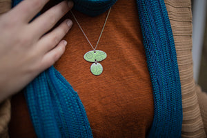 Mint green enamel lime 'doodle' double-pendant necklace.  Photo by EGB Photography.
