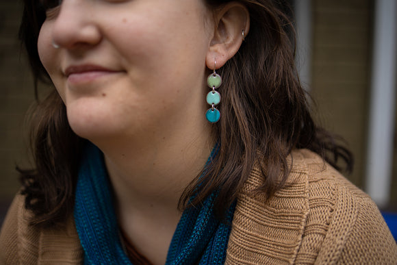 Triple mini circle enamel earrings in mint green, robin's egg blue and teal.  Photo by EGB Photography.