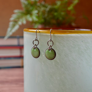 Green Enamel Fiddlehead Fern 'Doodle' Earrings
