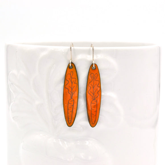 Orange Enamel Carrot 'Doodle' Earrings