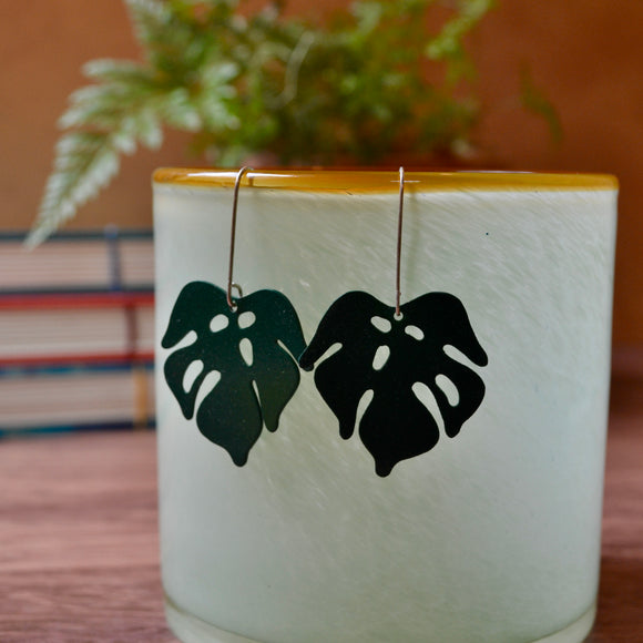 Green Enamel Leaf 'Doodle' Earrings