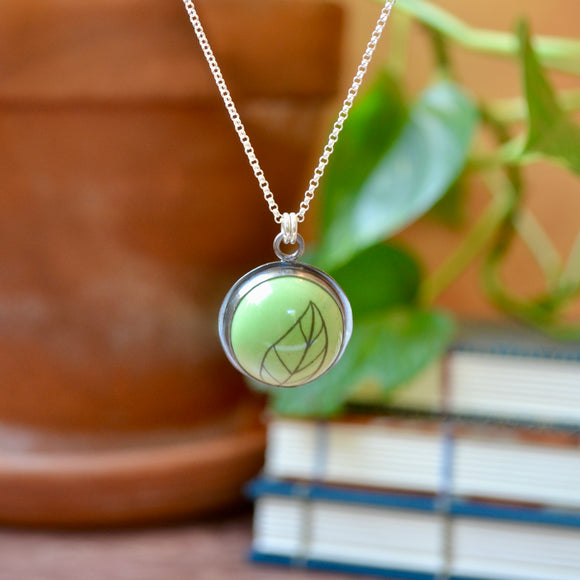 Large Lime Green Powdercoated Leaf Necklace