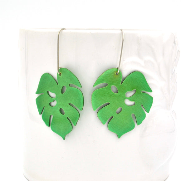 Translucent Green Powdercoated Tropical Leaf Earrings