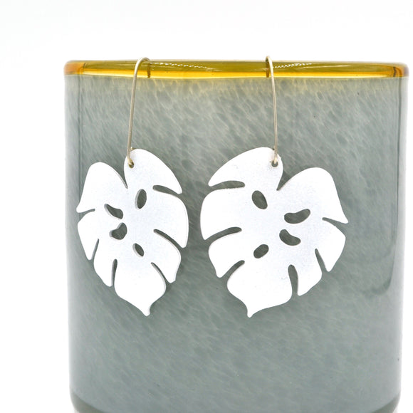White Powdercoated Tropical Leaf Earrings