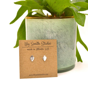 Sterling Silver Strawberry Post Earrings