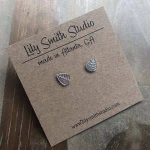 Medium Sterling Silver Leaf Post Earrings