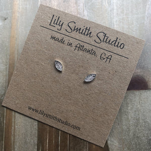 Small Sterling Silver Leaf Post Earrings