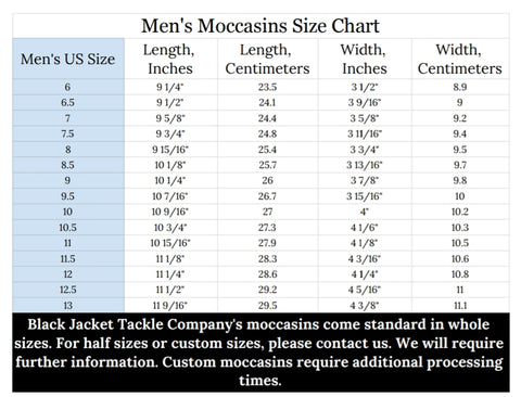 Black Jacket Tackle Company Handmade Moccasin size chart for men