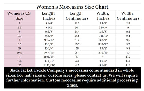 Black Jacket Tackle Company's Handmade Moccasin size chart for women