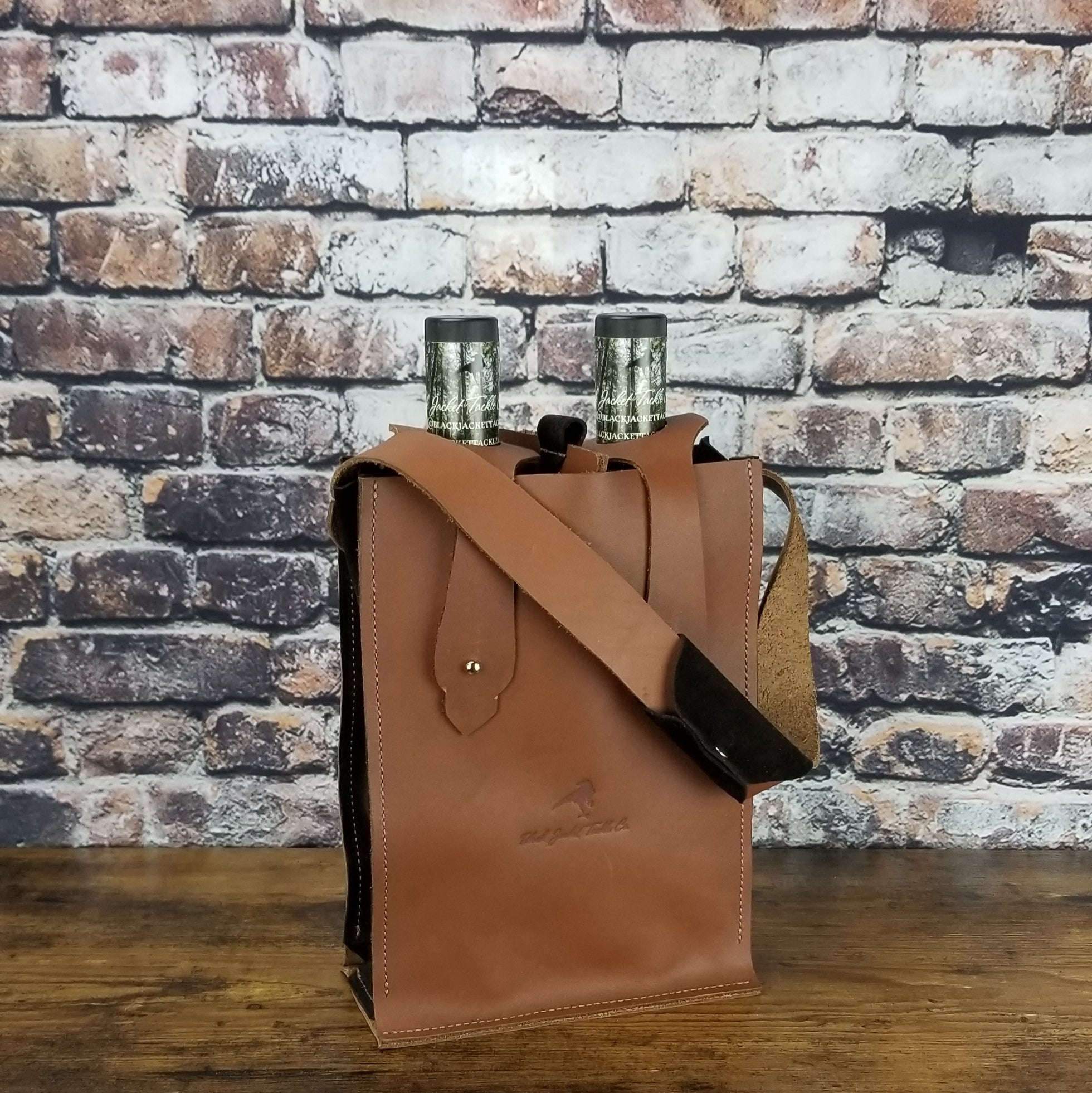 Double-Bottle Wine Courier | Brown