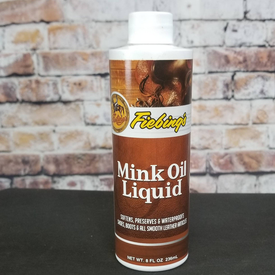 Fiebing's Mink Oil leather conditioner and weatherproofing in liquid form