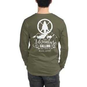 The Adventure is Calling Me Long Sleeve Tee, White Print