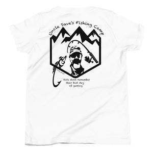 Uncle Dave's Fishing Camp Logo Tee, Kids Black Print
