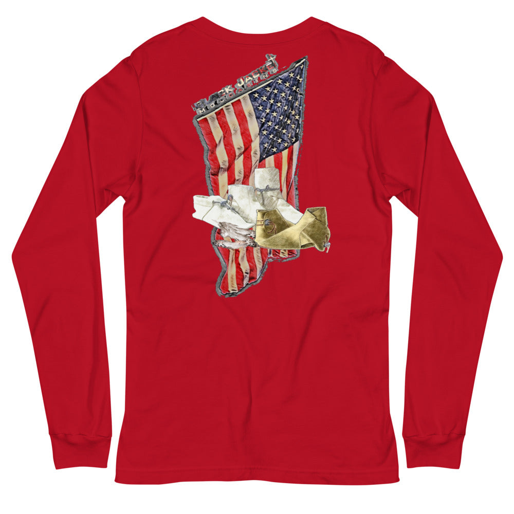 Distressed American Flag Long Sleeve Tee
