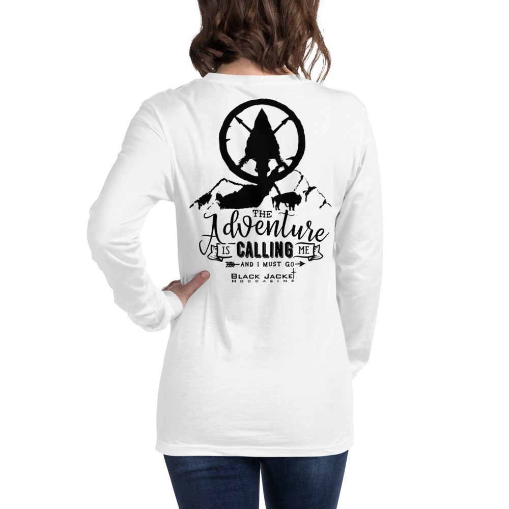 The Adventure is Calling Me Long Sleeve Tee, Black Print