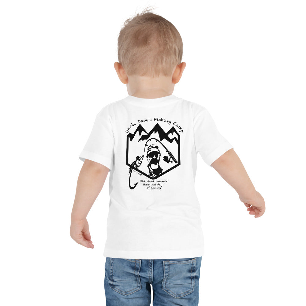 Uncle Dave Fishing Camp Logo Tee, Toddler Black Print