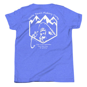 Uncle Dave's Fishing Camp Logo Tee, Kids White Print