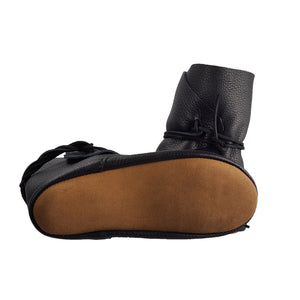 brown leather soft sole on black moccasin for women handcrafted by black jacket moccasins