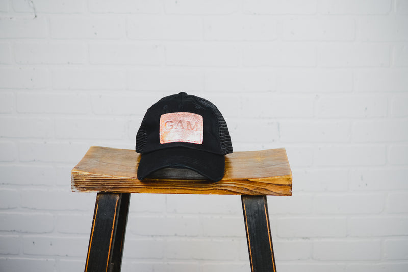 Women's Distressed Hat with Leather Patch