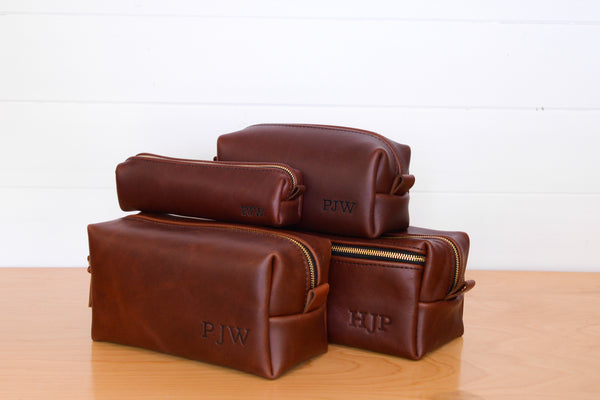 Chestnut Leather Toiletry Bag