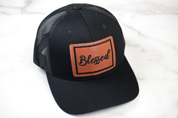 Blessed Trucker Hat with Embroidered Leather Patch