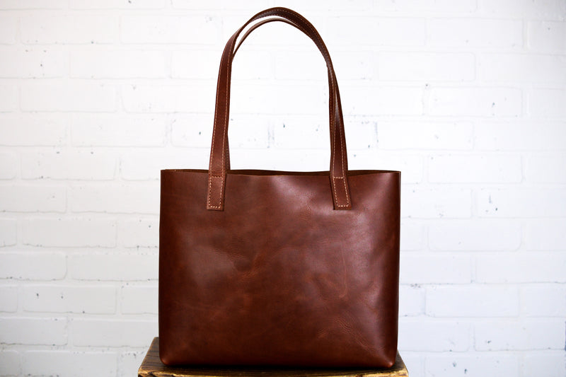 Medium Leather Tote-Charlie