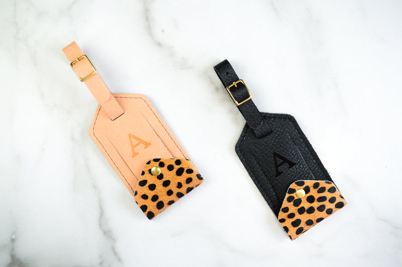 Cheetah Hair Leather Luggage Tag