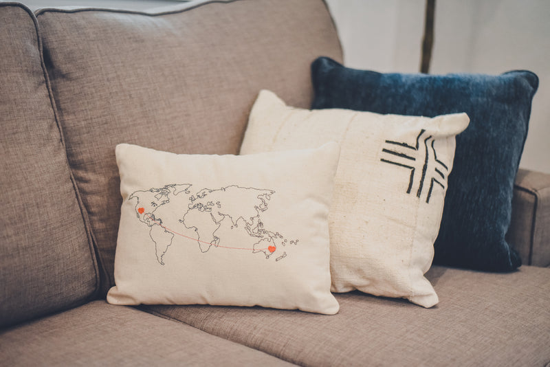 Personalized World Map Throw Pillow