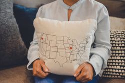 Personalized USA Map Throw Pillow