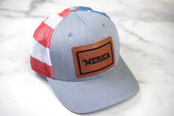 'Merica Trucker Hat with Leather Patch