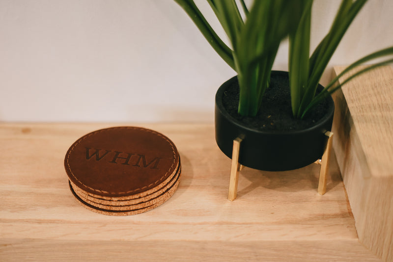 Leather & Cork Coaster Set