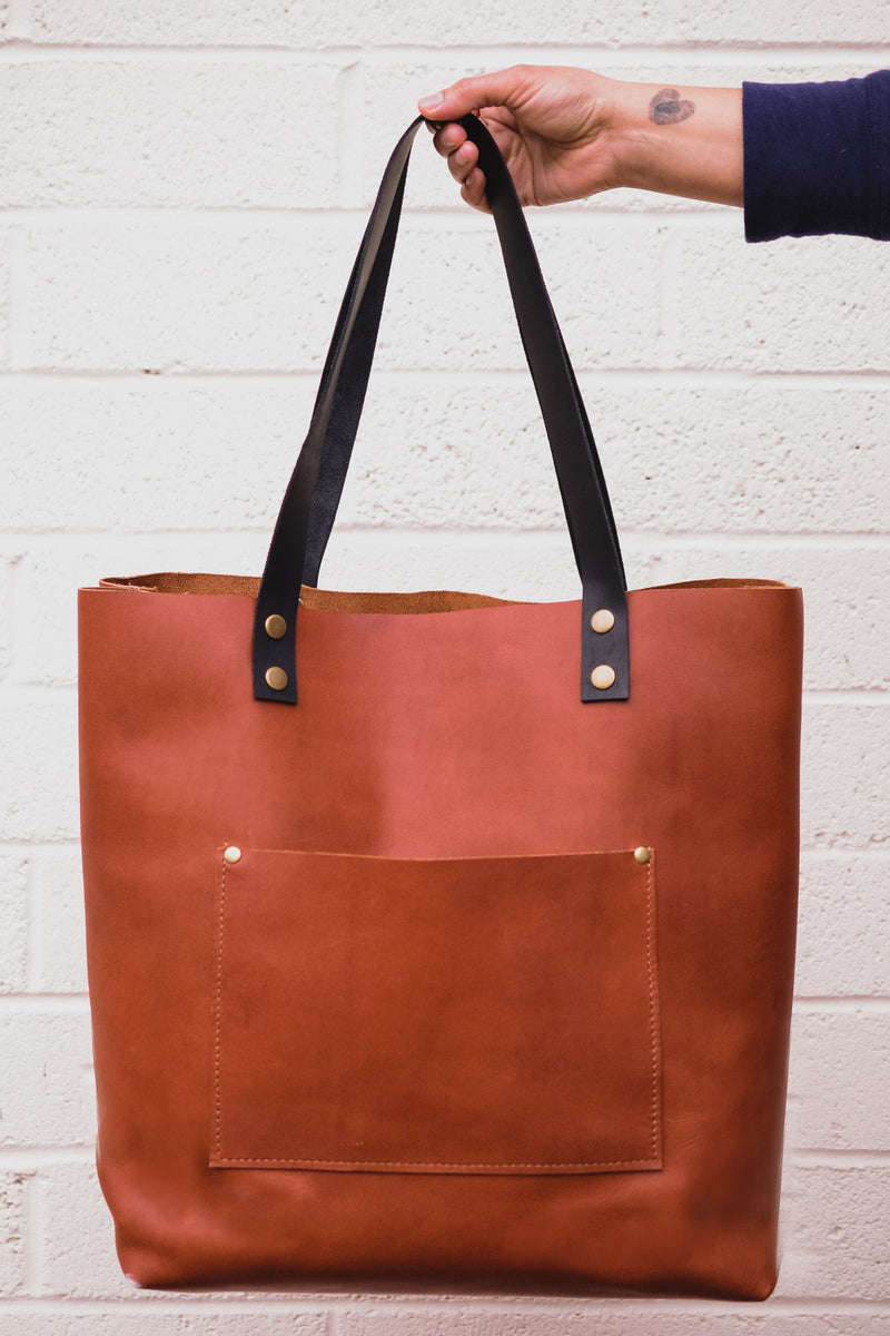 Waxed Canvas & Leather Large Tote Bag-Emmerson