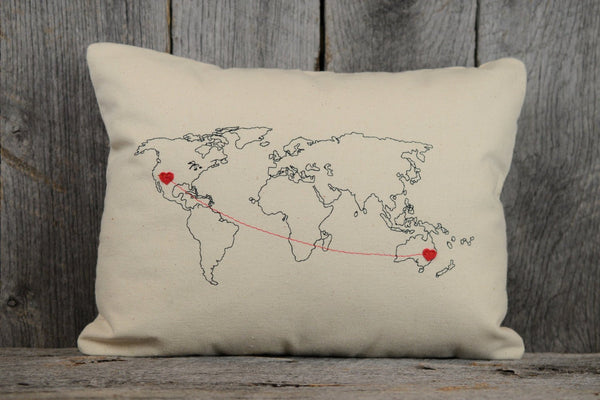 Personalized World Map Throw Pillow | Custom House Warming Gift for Mom Grad Wife |Home Décor Decorative Accent Pillow Living Room & Bedroom