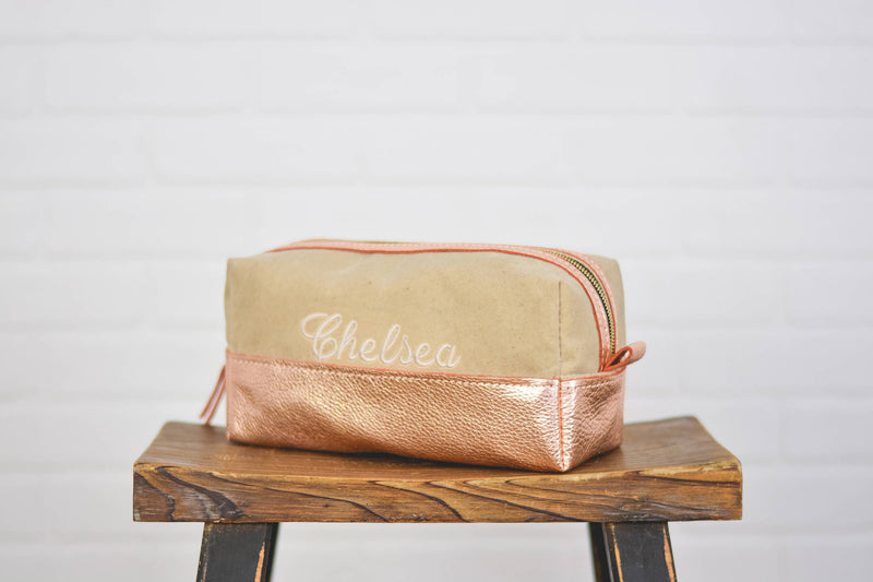Personalized Rose Gold Leather Makeup Bag Cosmetic Case | Toothbrush Pouch Travel Bag Bridesmaid Gift for Mom, Girlfriend, Wife Cream Canvas
