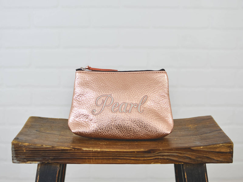Personalized Cosmetic Bag for Ladies | Custom Leather Makeup Bag Clutch | Bridesmaid Gift for Grad Mom Wife Sister Teen|Leather for Her
