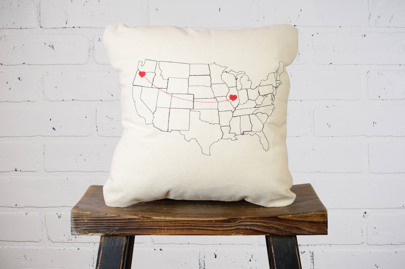 Personalized Map Throw Pillow |Custom House Warming Gift for Mom, Grad, Kids, Wife|Home Décor Decorative Accent Pillow Living Room & Bedroom
