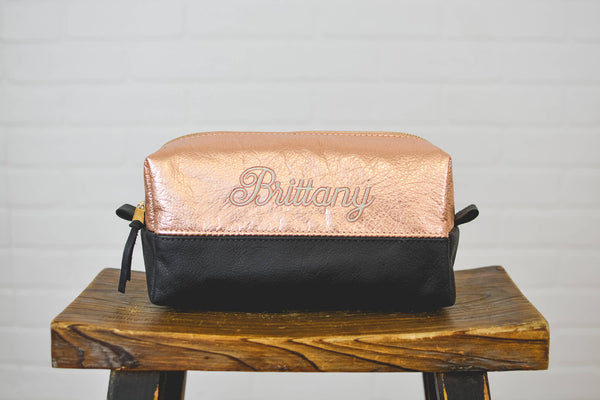 Custom Leather Makeup Bag Custom Bridesmaids Gift | Monogram Cosmetic Bag | Personalized Toiletry Bag Travel Bag |Wedding Gift for Her Mom