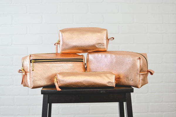 Personalized Rose Gold Leather Makeup Bag Cosmetic Case | Toothbrush Pouch Travel Bag Bridesmaid Gift for Mom, Girlfriend, Wife Metallic Bag