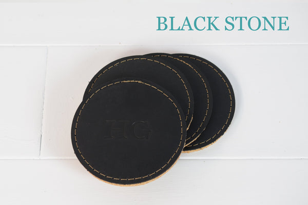 Personalized Leather & Cork Coaster set| Custom Corporate Gifts | Housewarming Leather Gift for Wedding, Anniversary,Home | Groomsmen Gift