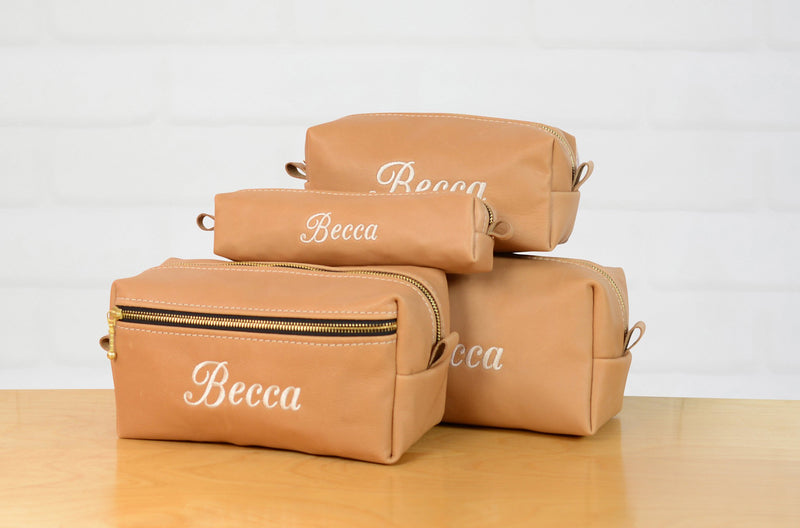Personalized Natural Leather Makeup Bag Cosmetic Case for Her | Womens Travel Bag| Bridesmaid Gift Leather Bag with Monogram| Toiletry Bag