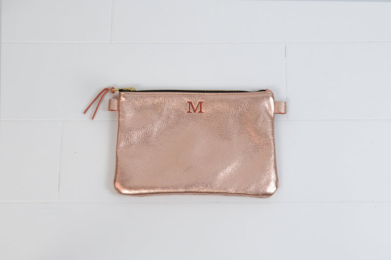 Personalized Leather Bank Bag |Monogram Initial Leather Cosmetic Bag Makeup Pouch |Custom Travel Bag Bridesmaid Proposal Gift for Her Woman