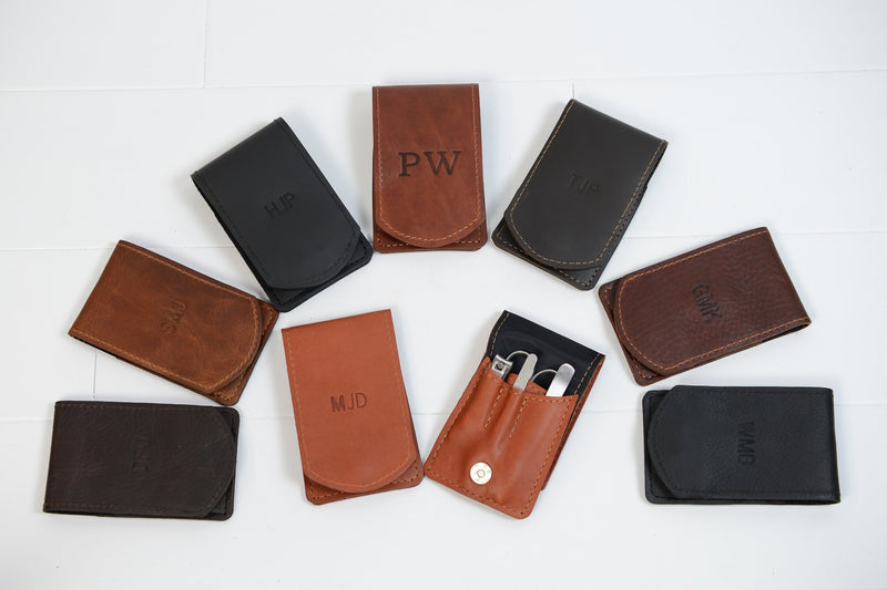 Personalized Mens Leather Manicure Set Monogram | Leather Manicure Case | Custom Groomsmen Gift for Man Boyfriend Husband Brother Dad Grad